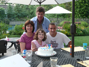 Tom Tyne with his sister Terri Tyne Connors, Ella LeBrun, and Matt Connors in July 2009.