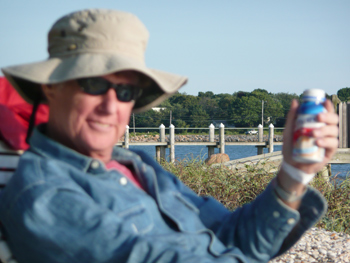 Tom is toasting me with an Ensure.  We spent a few days in Sag Harbor, a favorite haunt of ours, after his release from the hospital.